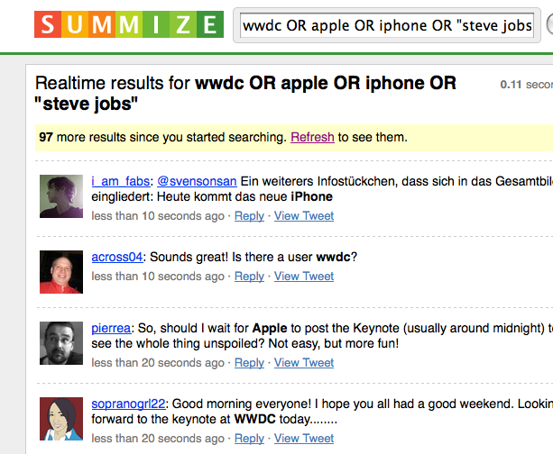 iPhone in Twitter through Summize
