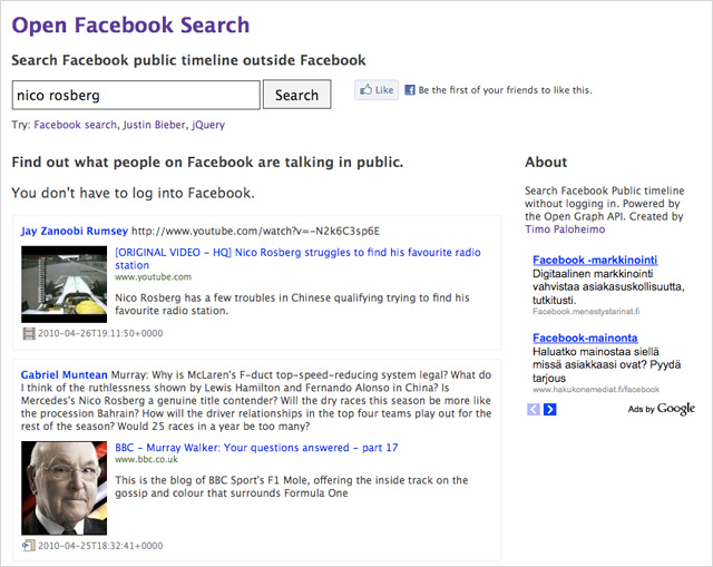 Open Facebook Search